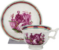 Miscellaneous:Ephemera, Sunderland Pink Lustreware. Ceramic cup and saucer set. QueenVictoria and Prince Albert. ca. 1840.. ... (Total: 2 Items)
