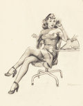 Pin-up and Glamour Art, Gil Elvgren (American, 1914-1980). I'm Never Promoted, But I GetLots of Advances, preliminary, 1946. Charcoal on vellum...