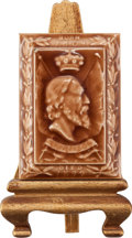 Miscellaneous:Ephemera, E & C Braby. Tennyson 1809-1899. Memoriam ceramic tilewith easel stand.. ... (Total: 2 Items)
