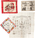 Miscellaneous:Ephemera, Eight silk and cotton scarves and handkerchiefs. Includes Jubileesouvenirs and French tributes, ca. 1890.. ... (Total: 6 Items)
