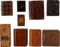 Miscellaneous:Ephemera, Group of nine miniature boxes. Three metal, one leather, and fivewood, ca. mid-19th century. Large copper example includes ...(Total: 9 Items)