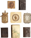 Miscellaneous:Ephemera, Eight small metal and celluloid boxes. Includes four Jubileesouvenirs, ca. 1890.. ... (Total: 8 Items)