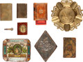 Miscellaneous:Ephemera, Group of three brass cigarette lighters, two match boxes and threeashtrays, 1897 - 1939. Includes an enameled tin ashtray, ...(Total: 8 Items)
