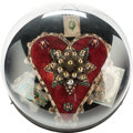 "Miscellaneous:Ephemera, Beaded velvet and tasseled Queen Victoria ""Memoriam"" heart inoriginal dome frame, 1901.. ..."