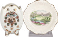 Miscellaneous:Ephemera, Royal Stafford Balmoral Castle nut dish and a Dominion ofCanada vase, ca. 1890. Bone china.. ... (Total: 4 Items)