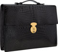 "Luxury Accessories:Bags, Bally Shiny Black Crocodile Briefcase Bag with Gold Hardware.Very Good Condition . 14.5"" Width x 10"" Height x 1.5""De..."