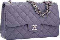 Chanel Lavender Quilted Lambskin Leather Jumbo Double Flap Bag with Silver Hardware Excellent Condition