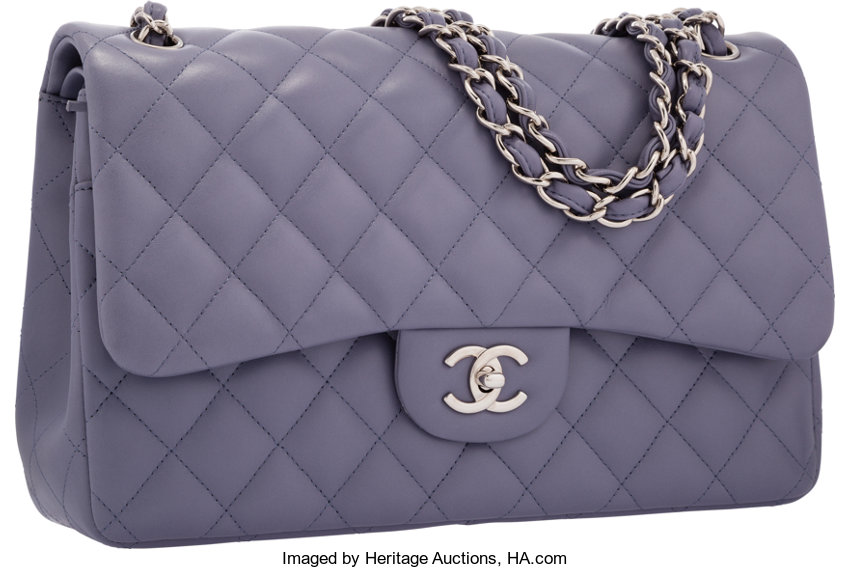 24b03017772e ... Luxury Accessories:Bags, Chanel Lavender Quilted Lambskin Leather Jumbo  Double Flap Bag withSilver Hardware ...