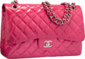 "Luxury Accessories:Bags, Chanel Pink Quilted Patent Leather Jumbo Double Flap Bag with Silver Hardware. Excellent Condition. 12"" Width x 8"" Hei..."