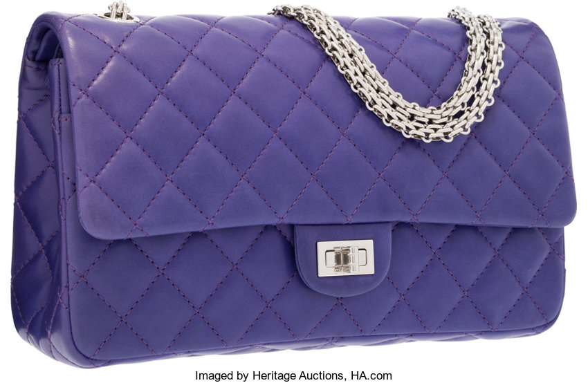 Chanel Purple Quilted Lambskin Leather Reissue Jumbo Double  28fcdce207