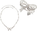 "Luxury Accessories:Accessories, Chanel Set of Two; Silver & Crystal Bow Necklace and BangleBracelet. Very Good to Excellent Condition. Necklace: .5""... (Total: 2 Items)"