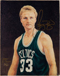 Basketball Collectibles:Others, 1993 Larry Bird Signed Canvas Giclee Gifted to Armand LaMontagne....