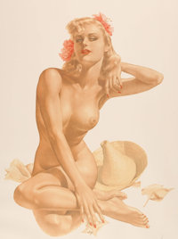 Alberto Vargas Sea Shells Pin-Up Limited Edition Lithograph Print #34/450 (San Francisco Art Exchange, 1988)