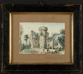 Antiques:Antiquities, Hand-colored drawing, Penkell Castle, unknown artist,December,1883. Titled and dated in pencil lower right corn...