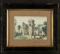 Hand-colored drawing, Penkell Castle, unknown artist, December,1883. Titled and date