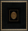 Miscellaneous:Ephemera, Framed oval brass medallion of Queen Victoria, 1887.. ...