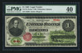 Large Size:Legal Tender Notes, Fr. 17a $1 1862 Legal Tender PMG Extremely Fine 40.. ...