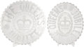 Miscellaneous:Ephemera, Two clear pressed glass serving dishes commemorating QueenVictoria's Diamond Jubilee, 1897.. ... (Total: 2 Items)