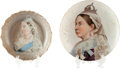Miscellaneous:Ephemera, Small china nut dish by Meissen and a shallow ceramic bowl, ca.1890. Both with hand-painted portraits of Victoria.. ... (Total: 2Items)