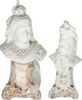 Miscellaneous:Ephemera, Unknown maker. Two small ceramic souvenir busts on pedestalscommemorating Queen Victoria's Diamond Jubilee, 1897.... (Total: 2Items)