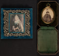 Photography:Studio Portraits, Two portraits of Queen Victoria, including: A lithograph print mounted on a silver and velvet frame. 1897. [and:] A ph... (Total: 2 Items)