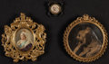 Photography:Studio Portraits, Three small photographs of Queen Victoria in brass frames, 1897. Round example is embossed, other two are mounted from the ... (Total: 3 Items)