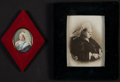 Miscellaneous:Ephemera, Photograph and Print Portrait of Queen Victoria, 1897. Both invelvet photo frames.. ... (Total: 2 Items)