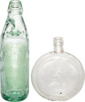 Miscellaneous:Ephemera, Green glass Denwood & Sons Mineral Water bottle and a clearglass Diamond Jubilee flask. Complete with its original glass ba...(Total: 2 Items)