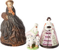 Miscellaneous:Ephemera, Three risqué female figurines, ca. 1900. Largest has bust of a manunder her skirt, skirt opens on middle example to reveal ...(Total: 3 Items)