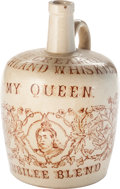 Miscellaneous:Ephemera, Thom & Cameron Ltd. My Queen. 1837-1887 Jubilee BlendHighland Whiskey stoneware flagon jug.. ...