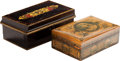 Miscellaneous:Ephemera, Two Jubilee souvenir boxes. Enameled tin with latching lid andinner tray, 1897. Decoupage wood with fitted lid advertising De...(Total: 2 Items)