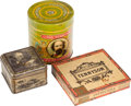 Miscellaneous:Ephemera, Two Lord Tennyson tin cigar boxes and one tin mustard box, ca.1900.. ... (Total: 3 Items)