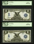 Large Size:Silver Certificates, Fr. 233 $1 1899 Silver Certificate PCGS Choice New 63PPQ-Gem New65PPQ.. ... (Total: 4 notes)