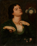 Books:Original Art, Manner of DANTE GABRIEL ROSSETTI (1828-1882). Portrait of a Ladywith an Apple. Oil on canvas. Bears monogram lowe...