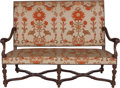 Furniture , A Baroque-Style Upholstered Walnut Settee, late 19th century. 48 inches high x 63 inches wide x 23 inches deep (121.9 x 160....