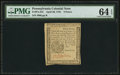 Colonial Notes:Pennsylvania, Pennsylvania April 20, 1781 3d PMG Choice Uncirculated 64 EPQ.. ...