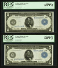 Fr. 851a $5 1914 Federal Reserve Note PCGS Gem New 65PPQ, Very Choice New 64PPQ (2), Choice New 63PPQ Cut Sheet of Four...