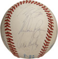 Autographs:Baseballs, 1992 Texas Rangers Team Signed Baseball. Nolan Ryan has checked inon the OAL (Brown) orb here in his penultimate season as...