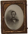 "Political:Ferrotypes / Photo Badges (pre-1896), Abraham Lincoln: A Rare Large Half Plate ""Ivorytype"" Image, circa1864, in Original Case...."