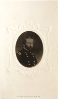 Photography:Tintypes, Ulysses S. Grant: An Unusual Tintype Image in Original Carte de Visite Mount....