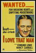"Movie Posters:Crime, I Love That Man (Paramount, 1933). One Sheet (27"" X 41"") Style A. Crime...."