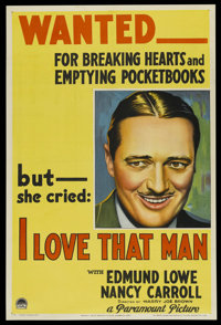 "I Love That Man (Paramount, 1933). One Sheet (27"" X 41"") Style A. Crime"