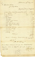 "Autographs:Military Figures, Oliver Hazard Perry manuscript Document Signed, ""O. H. Perry"". One page, 8"" x 13"", Baltimore, July 19, 1815, an account ..."