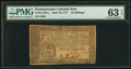 Colonial Notes:Pennsylvania, Pennsylvania April 10, 1777 16s PMG Choice Uncirculated 63 EPQ.....