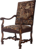 Furniture : French, A Régence-Style Needlepoint Upholstered Walnut Fauteuil, 20thcentury. 46-3/4 inches high x 25 inches wide x 26-1/2 inches d...