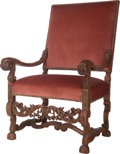 Furniture : French, A Louis XIV-Style Upholstered Oak Armchair, 19th century. 43 incheshigh x 27 inches wide x 25 inches deep (109.2 x 68.6 x 6...