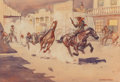 Western:Cowboy Artists, Leonard Howard Reedy (American, 1899-1956). The Saloon Shooting. Watercolor on paper. 8 x 11-5/8 inches (20.3 x 29.5 cm)...