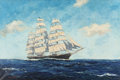 Maritime:Paintings, John Terry (American, 1880-1934). Ship at Sea. Oil oncanvas. 20 x 30 inches (50.8 x 76.2 cm). Signed lower left:John...