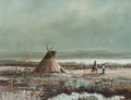 Fine Art - Painting, American:Contemporary   (1950 to present)  , Thomas A. de Decker (American, b. 1951). Indian Encampment,Cheyenne. Oil on masonite. 12 x 16 inches (30.5 x 40.6 cm). ...
