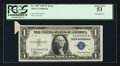 Error Notes:Attached Tabs, Fr. 1607 $1 1935 Silver Certificate Q-A Non-Mule. PCGS About New53.. ...